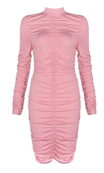 Crushing Hard Long Sleeve Mock Neck Ruched Bodycon Bandage Mini Dress - 2 Colors Available