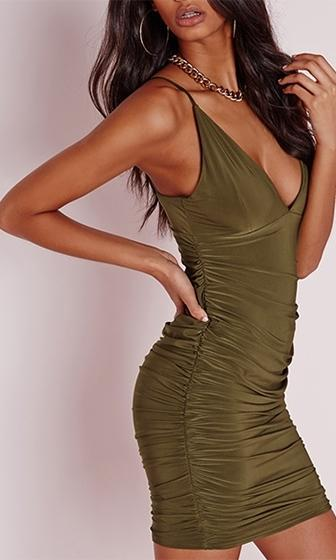 In The Club Olive Green Double Spaghetti Strap Plunge V Neck Ruched Bodycon Mini Dress - Sold Out