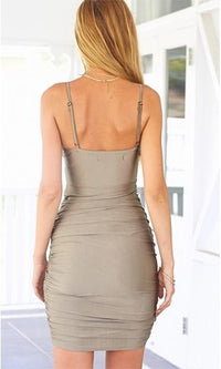 String Me Along Taupe Spaghetti Strap Cross Wrap V Neck Cut Out Waist Ruched Bodycon Mini Dress - Sold Out