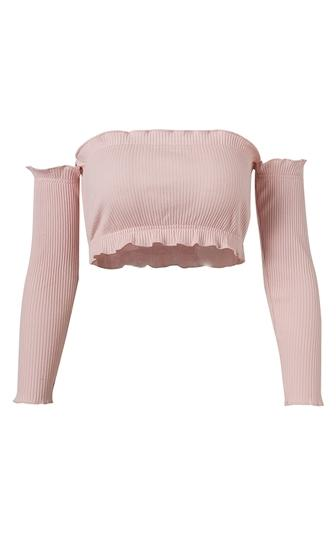 Color Your Way Long Sleeve Off The Shoulder Ruffle Bandeau Basic Crop Top - 4 Colors Available