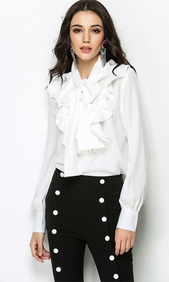 For The Frill Of It Long Sleeve Ruffle Bow Tie Neck Blouse Top - 2 Colors Available