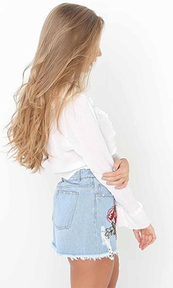 Don't Stop Believing Long Flare Sleeve Ruffle V Neck Lace Up Crop Blouse - 2 Colors Available - Sold Out