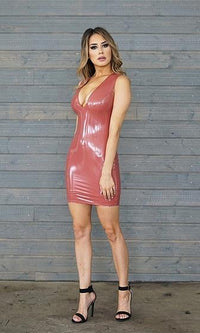 Flashy Ways Rust Patent Sleeveless Plunge V Neck Bodycon Mini Dress - Sold Out