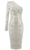 Meet The Moment Gold One Shoulder Pad Sequin Long Sleeve Ruched Midi Bodycon Dress