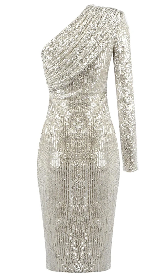 Meet The Moment Silver One Shoulder Pad Sequin Long Sleeve Ruched Midi Bodycon Dress