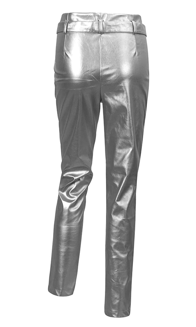 Live For Glam Metallic High Waist Pleat Belt Skinny Pants - 4 Colors Available - Sold Out