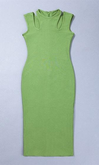 On The Lookout Green Sleeveless Crew Neck Cut Out Bandage Bodycon Midi Dress