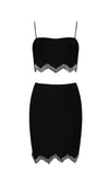 Living For The Weekend Black White Rhinestone Sequin Sleeveless Spaghetti Strap Crop Top Two Piece Bodycon Bandage Mini Dress