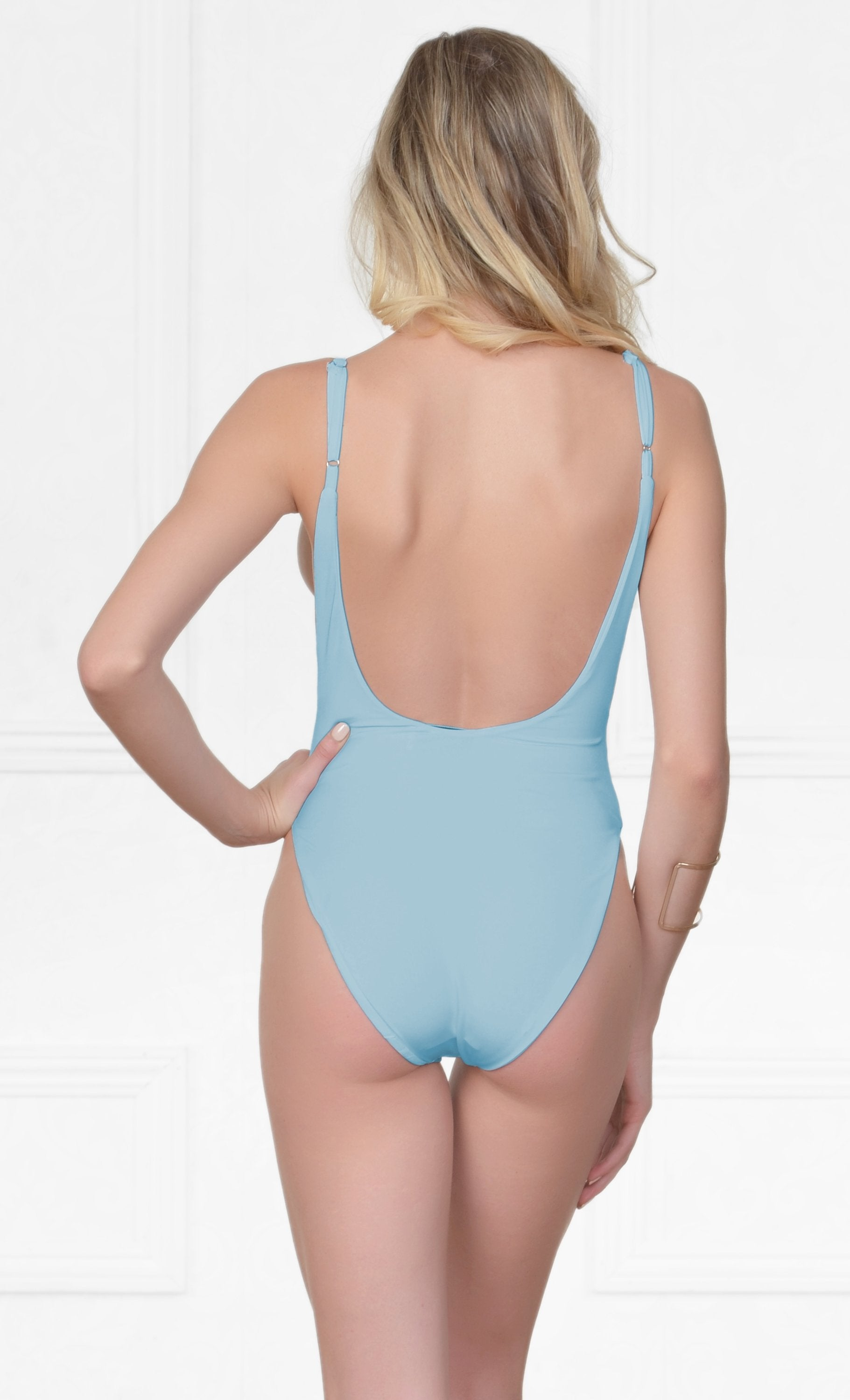 Indie XO New Desire Sky Blue Spaghetti Strap Scoop Neck Cut Out Side One Piece Swimsuit