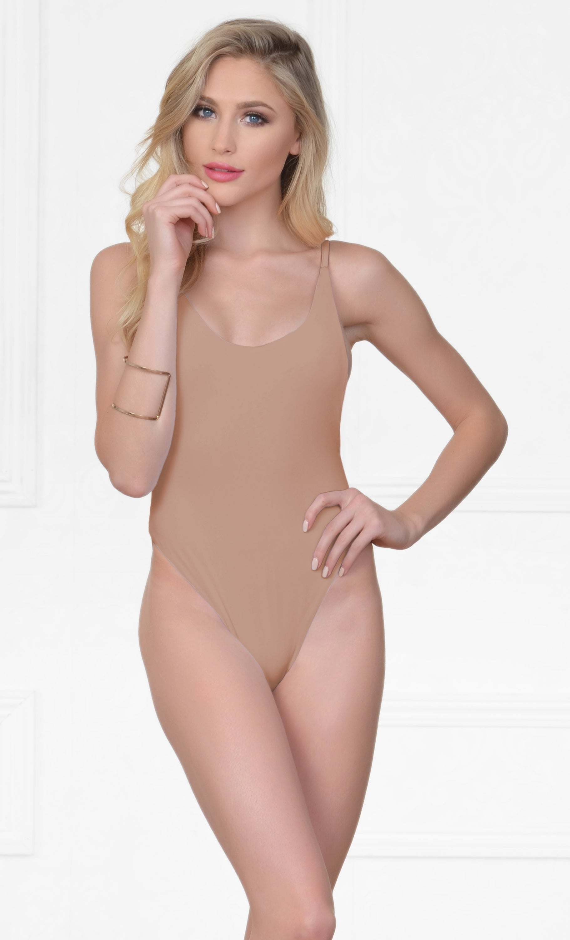 Indie XO New Desire Nude Beige Spaghetti Strap Scoop Neck Cut Out Side One Piece Swimsuit