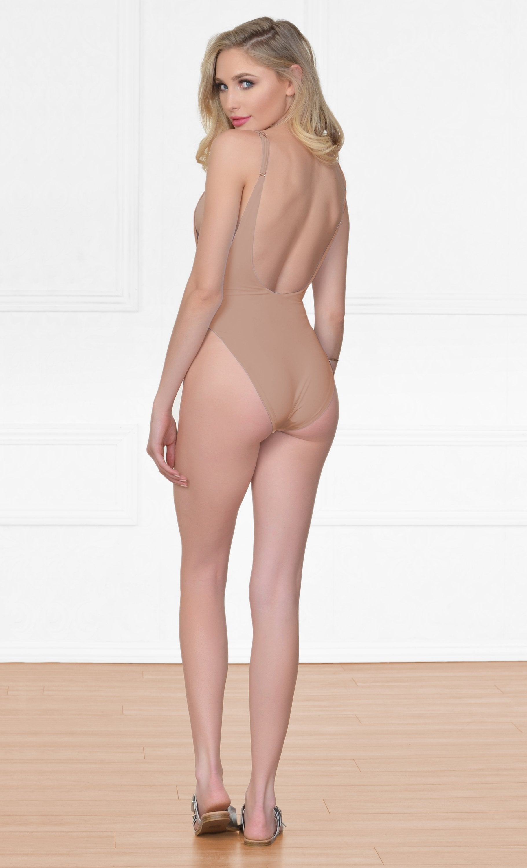 Indie XO New Desire Nude Beige Spaghetti Strap Scoop Neck Cut Out Side One Piece Swimsuit - Sold Out
