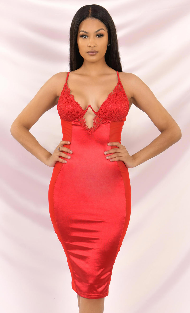 Cause A Scene Red Satin Sheer Mesh Lace Sleeveless Spaghetti Strap V Neck Cut Out Bodycon Midi Dress