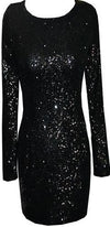 Gold Silver Black Long Sleeve Sequin Backless Bodycon Mini Dress - Sold Out
