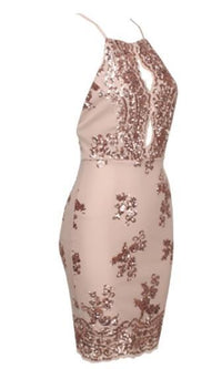 Made To Shine Beige Gold Sequin Halter Cut Out Bodycon Mini Dress - Sold Out