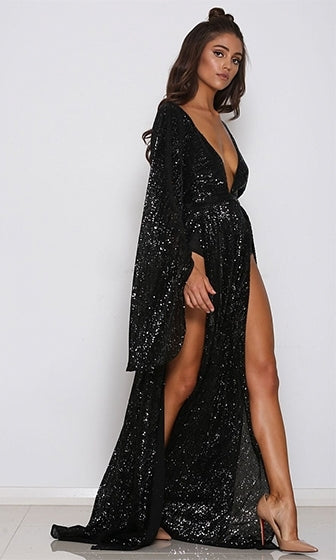 Speak Your Mind Black Sequin Long Bell Sleeve Plunge V Neck Double Slit  Maxi Dress 44c3a8ff8