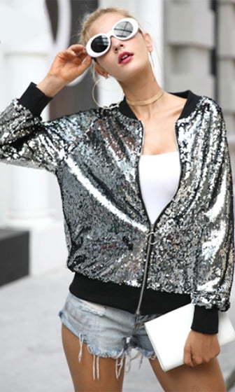 Ticking Time Bomb Sequin Long Sleeve Zip Bomber Jacket - 4 Colors Available