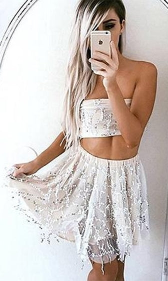 Dancing Diva Beige Silver Sequin Fringe Tassel Mesh Strapless Tie Back Bandeau Crop Skater Circle A Line Flare Two Piece Mini Dress - Sold Out