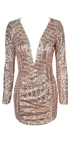 Party On Gold Geometric Sequin Long Sleeve Plunge V Neck Bodycon Mini Dress - Sold Out