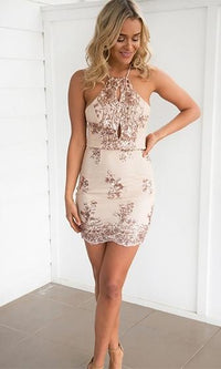 Made To Shine Beige Gold Sequin Halter Cut Out Bodycon Mini Dress