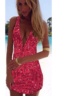 Red Sequin Sparkle Plunge V Neck Zip Back Sleeveless Bodycon Mini Dress - Sold Out