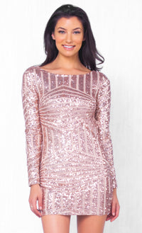 Indie XO Romance In The Air Gold White Sequin Geometric Boat Neck Long Sleeve Low Open Back Bodycon Mini Dress - Just Ours! - Sold Out