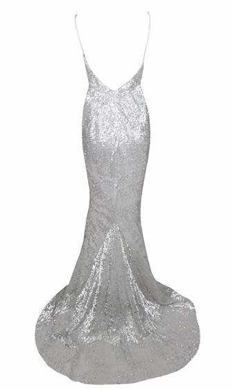 Fire and Ice Silver Sequin Plunging V Neck Spaghetti Strap Sleeveless Open Back Mermaid Dress Gown