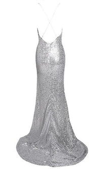 Get Your Glitz On Silver Sequin Spaghetti Strap V Neck X Back Split Side Maxi Dress - Sold Out