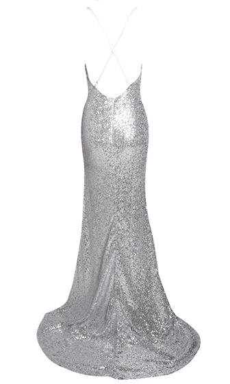 Get Your Glitz On Silver Sequin Sleeveless Spaghetti Strap V Neck X Back Split Side Maxi Dress