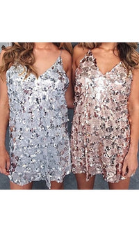 Good Times Sequin Spaghetti Strap V Neck Mini Dress - 2 Colors Available! - Sold Out
