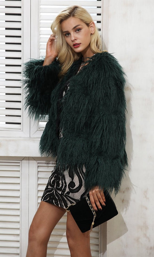 Ice Storm Shaggy Faux Fur Long Sleeve Coat - 4 Colors Available