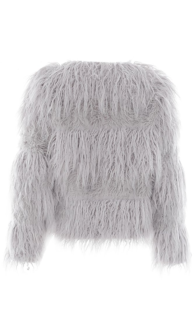 Ice Storm Shaggy Faux Fur Long Sleeve Coat Outerwear- 4 Colors Available