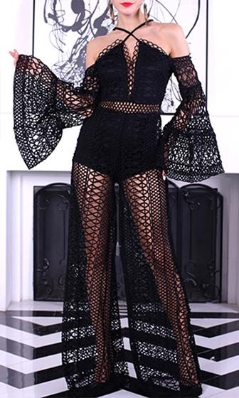 First To Know Black Sheer Lace Long Flare Sleeve Cold Shoulder Crisscross Spaghetti Strap Wide Leg Jumpsuit