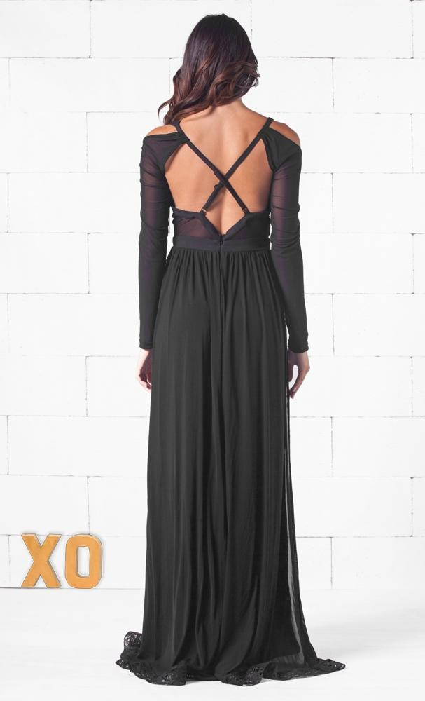 Indie XO Deepest Desire Black Long Sleeve Sheer Mesh Plunge V Neck Cut Out Double Slit Maxi Dress - Just Ours! - Sold Out