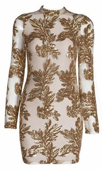 I'm Feeling You Gold Nude Sheer Mesh Sequin Long Sleeve Mock Neck Bodycon Mini Dress - Sold Out