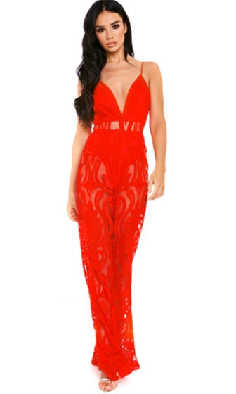 Ruby Kisses Sheer Lace Sleeveless Spaghetti Strap Plunge V Neck Jumpsuit - 3 Colors Available