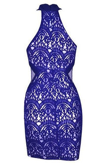 On The Verge Blue Lace Sleeveless Scoop Neck Sheer Mesh Bodycon Mini Dress - Sold Out