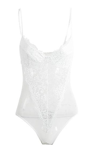 Rich Romance Sheer Mesh Lace Sleeveless Spaghetti Strap Bra Cup Bodysuit Top - 2 Colors Available