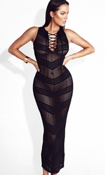 My Hero Sheer Mesh Stripe Sleeveless Lace Up V Neck Bodycon Bandage Maxi Dress - 2 Colors Available