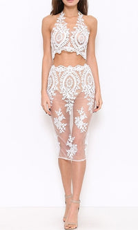 Don't Wanna Live Forever Sheer Mesh Lace Sleeveless Halter Crop Two Piece Midi Dress - 2 Colors Available - Sold Out