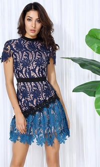 Thought Provoker Blue Lace Short Sleeve Crew Neck Mini Dress - Sold Out