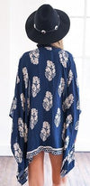 Lower East Side Navy Blue White Floral Short Sleeve Loose Open Kimono Top - Sold Out