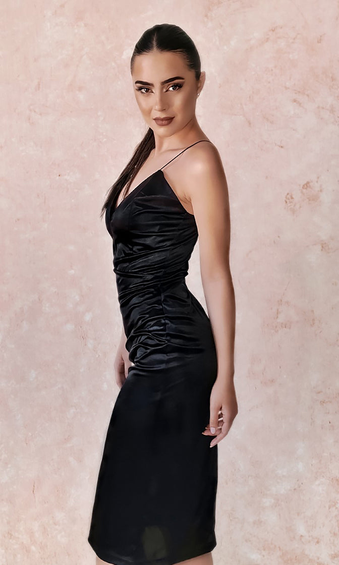 Evening Romance Black Satin Sleeveless Spaghetti Strap Plunge V Neck Bodycon Midi Dress