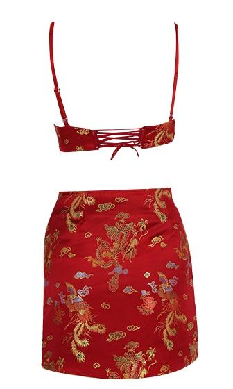 China Doll Silky Floral Spaghetti Strap Sleeveless V Neck Two Piece Crop Top Bodycon Mini Skirt Dress - 3 Colors Available - Sold Out
