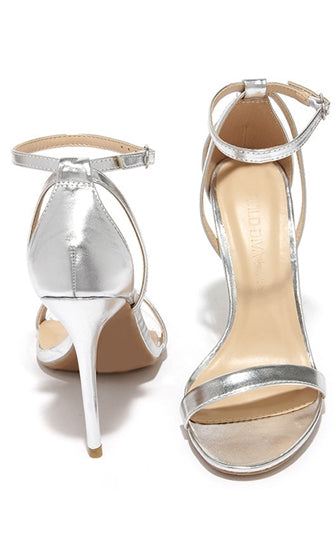 Hollywood Remix Silver Single Sole Ankle Strap Faux Leather Stiletto Heels - Sold Out