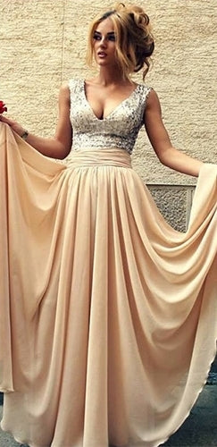 Forever My Sweetheart Beige Silver Sleeveless Sequin V Neck Top Pleated Full Chiffon Maxi Dress