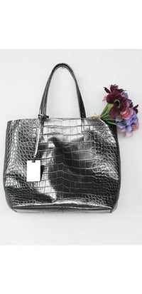 Silver Metallic Crocodile Embossed Faux Leather Double Handle Tote Bag Handbag - Sold Out