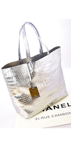 bdc04c0d47 Silver Metallic Crocodile Embossed Faux Leather Large Tote Bag ...