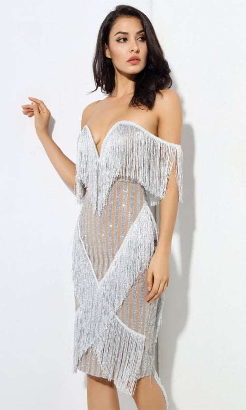 Super Glam Silver Strapless Fringe Sheer Mesh Glitter Stripe Plunge V Neck Midi Dress