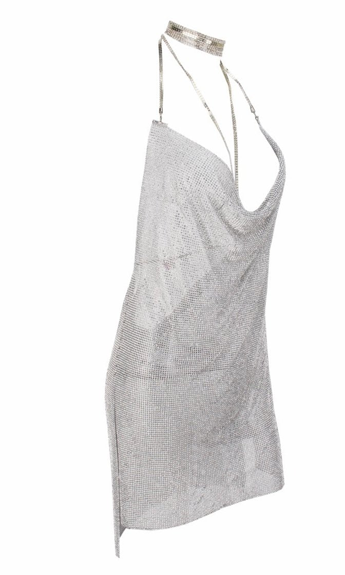 Steal the Scene Silver Metallic Rhinestone Diamanté Mesh Mock Neck Cut Out Straps Backless V Neck Mini Dress