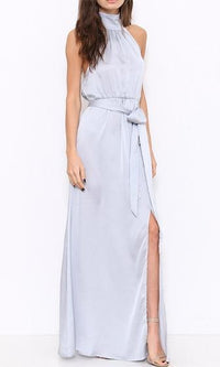 When You're Gone Silver Sleeveless Mock Neck Tie Waist Maxi Dress - Sold Out